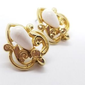 Custom Made Vintage Earrings Gold & White
